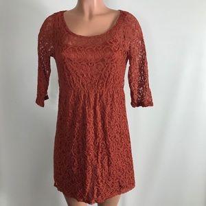 SALE Rhapsody dress orange lace mini scoop neck